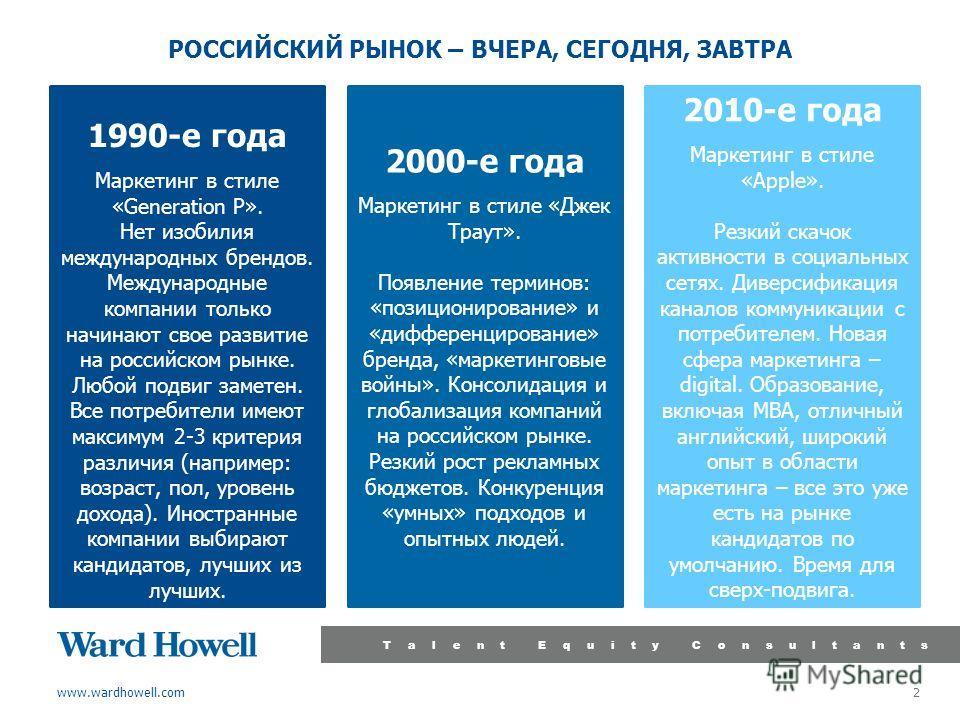 www.wardhowell.com Talent Equity Consultants 2 РОССИЙСКИЙ РЫНОК – ВЧЕРА, СЕГОДНЯ, ЗАВТРА 1990-е года Маркетинг в стиле «Generation P». Нет изобилия международных брендов. Международные компании только начинают свое развитие на российском рынке. Любой