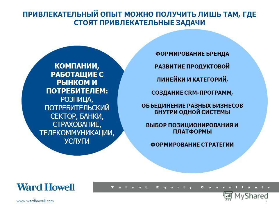 www.wardhowell.com Talent Equity Consultants 7 ПРИВЛЕКАТЕЛЬНЫЙ ОПЫТ МОЖНО ПОЛУЧИТЬ ЛИШЬ ТАМ, ГДЕ СТОЯТ ПРИВЛЕКАТЕЛЬНЫЕ ЗАДАЧИ КОМПАНИИ, РАБОТАЩИЕ С РЫНКОМ И ПОТРЕБИТЕЛЕМ: РОЗНИЦА, ПОТРЕБИТЕЛЬСКИЙ СЕКТОР, БАНКИ, СТРАХОВАНИЕ, ТЕЛЕКОММУНИКАЦИИ, УСЛУГИ Ф