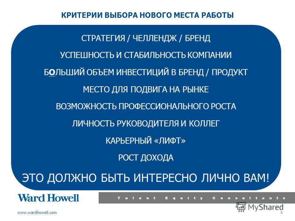 www.wardhowell.com Talent Equity Consultants 9 КРИТЕРИИ ВЫБОРА НОВОГО МЕСТА РАБОТЫ СТРАТЕГИЯ / ЧЕЛЛЕНДЖ / БРЕНД УСПЕШНОСТЬ И СТАБИЛЬНОСТЬ КОМПАНИИ БОЛЬШИЙ ОБЪЕМ ИНВЕСТИЦИЙ В БРЕНД / ПРОДУКТ МЕСТО ДЛЯ ПОДВИГА НА РЫНКЕ ВОЗМОЖНОСТЬ ПРОФЕССИОНАЛЬНОГО РОС