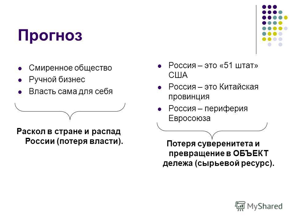 Прогноз Россия – это «51 штат» США Россия – это Китайская провинция Россия – периферия Евросоюза Смиренное общество Ручной бизнес Власть сама для себя Раскол в стране и распад России (потеря власти). Потеря суверенитета и превращение в ОБЪЕКТ дележа