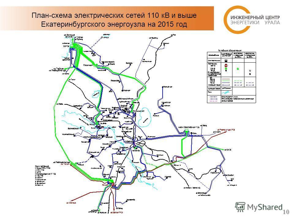 План-схема электрических сетей 110 кВ и выше Екатеринбургского энергоузла на 2015 год 10