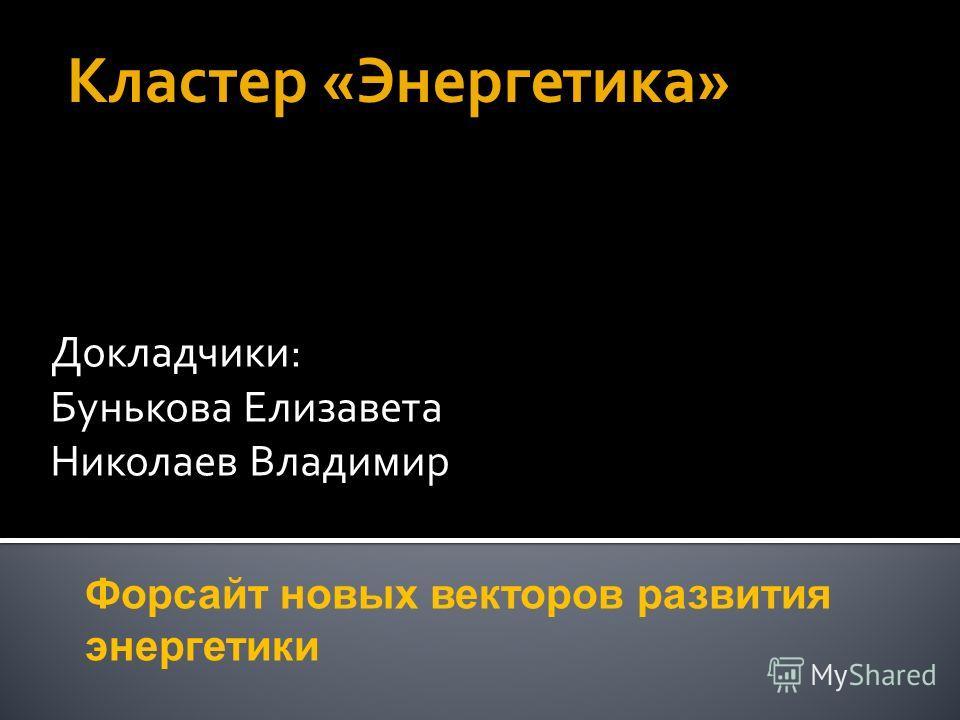 Докладчики: Бунькова Елизавета Николаев Владимир Форсайт новых векторов развития энергетики Кластер «Энергетика»