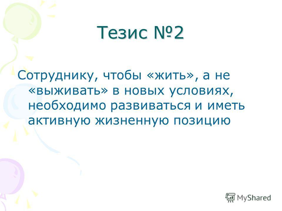 Тезис 2 Сотруднику, чтобы «жить», а не «выживать» в новых условиях, необходимо развиваться и иметь активную жизненную позицию