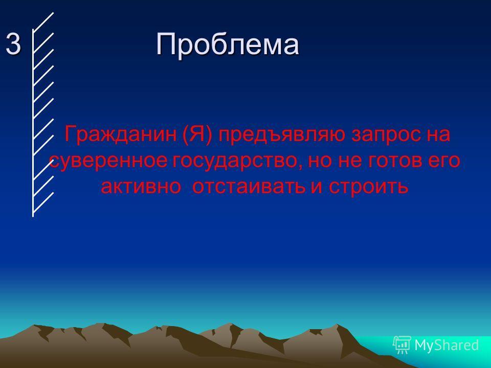 3 Проблема Гражданин (Я) предъявляю запрос на суверенное государство, но не готов его активно отстаивать и строить