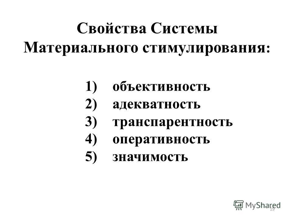 Свойства Системы Материального стимулирования : 1) объективность 2) адекватность 3) транспарентность 4) оперативность 5) значимость 19