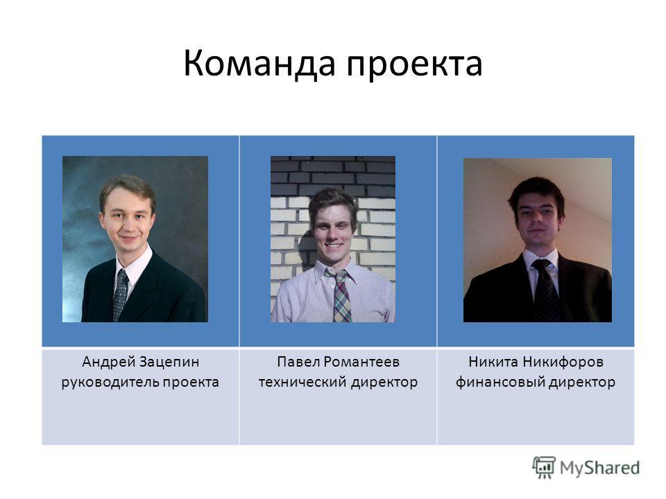 Команда проекта Андрей Зацепин руководитель проекта Павел Романтеев технический директор Никита Никифоров финансовый директор