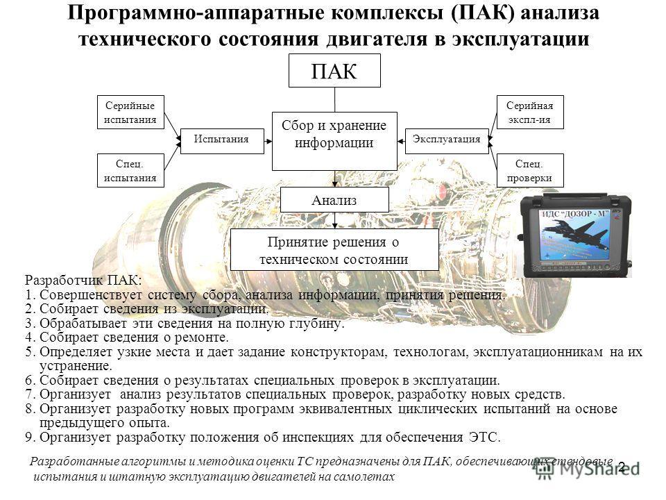 2 Программно-аппаратные комплексы (ПАК) анализа технического состояния двигателя в эксплуатации Разработчик ПАК: 1. Совершенствует систему сбора, анализа информации, принятия решения. 2. Собирает сведения из эксплуатации. 3. Обрабатывает эти сведения