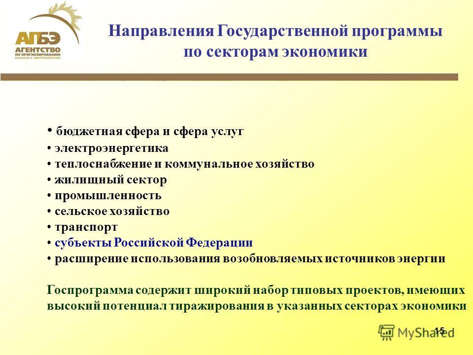 15 Направления Государственной программы по секторам экономики бюджетная сфера и сфера услуг электроэнергетика теплоснабжение и коммунальное хозяйство жилищный сектор промышленность сельское хозяйство транспорт субъекты Российской Федерации расширени