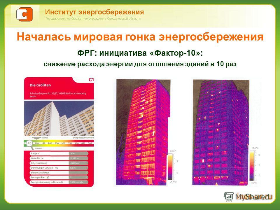 25 ФРГ: инициатива «Фактор-10»: снижение расхода энергии для отопления зданий в 10 раз Началась мировая гонка энергосбережения