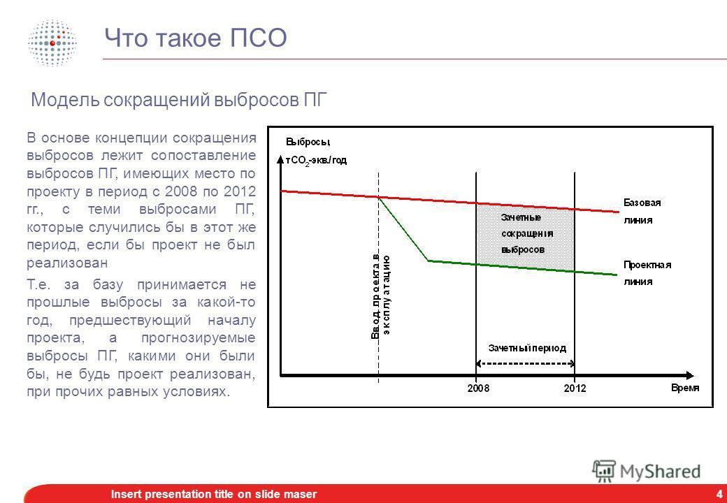 3Insert presentation title on slide maser Что такое ПСО Для целей Киотского протокола засчитываются сокращения выбросов ПГ в период с 2008 по 2012 гг., хотя сам проект может быть реализован и ранее 2008 г. Для ПСО неважно, где именно снижаются выброс