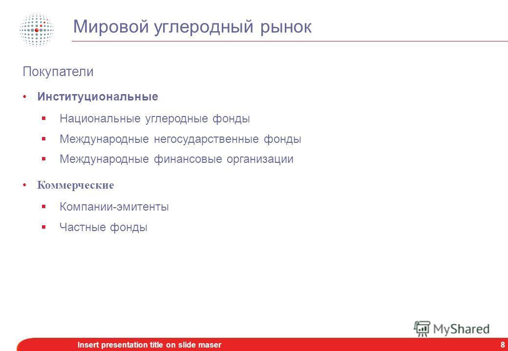 7Insert presentation title on slide maser Мировой углеродный рынок Источник: Point Carbon, данные за 2006 г.