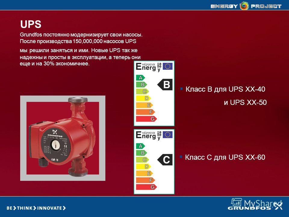 GRUNDFOS ENERGY PROJECT Класс C для UPS XX-60 Grundfos постоянно модернизирует свои насосы. После производства 150,000,000 насосов UPS мы решили заняться и ими. Новые UPS так же надежны и просты в эксплуатации, а теперь они еще и на 30% экономичнее.