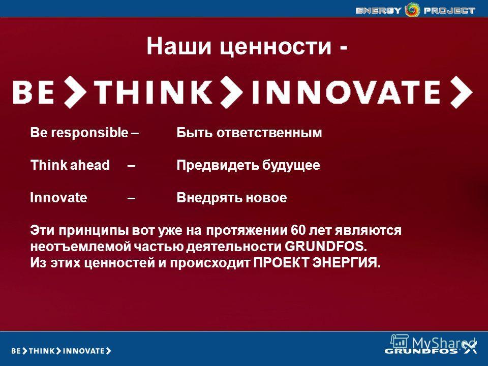 GRUNDFOS ENERGY PROJECT Наши ценности - Be responsible –Быть ответственным Think ahead – Предвидеть будущее Innovate – Внедрять новое Эти принципы вот уже на протяжении 60 лет являются неотъемлемой частью деятельности GRUNDFOS. Из этих ценностей и пр