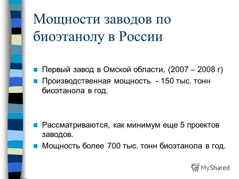 Мощности заводов по биоэтанолу в России Первый завод в Омской области, (2007 – 2008 г) Производственная мощность - 150 тыс. тонн биоэтанола в год. Рассматриваются, как минимум еще 5 проектов заводов. Мощность более 700 тыс. тонн биоэтанола в год.