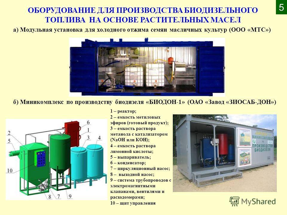 1 – реактор; 2 – емкость метиловых эфиров (готовый продукт); 3 – емкость раствора метанола с катализатором (NaOH или КОН); 4 – емкость раствора лимонной кислоты; 5 – выпариватель; 6 – конденсатор; 7 – циркуляционный насос; 8 – выходной насос; 9 – сис