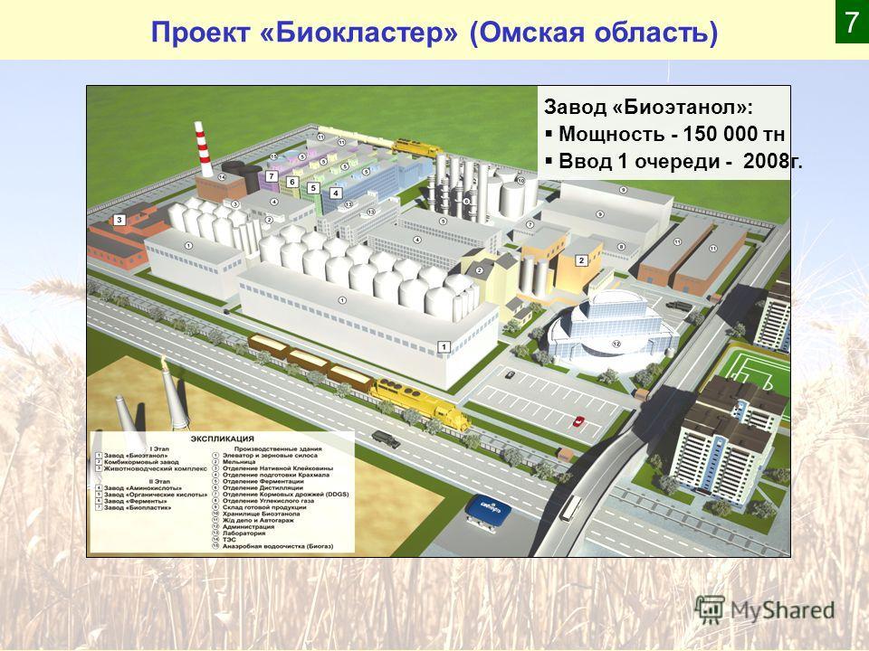 Проект «Биокластер» (Омская область) Завод «Биоэтанол»: Мощность - 150 000 тн Ввод 1 очереди - 2008г. 7