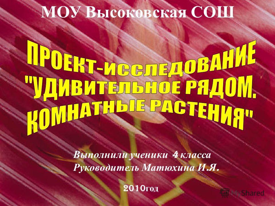 МОУ Высоковская СОШ Выполнили ученики 4 класса Руководитель Матюхина И. Я. 2010 год