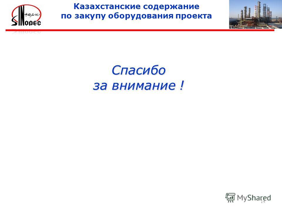 Спасибо за внимание ! 14 Казахстанские содержание по закупу оборудования проекта