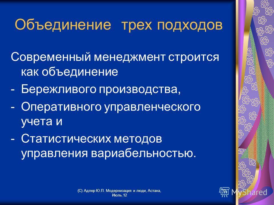(С) Адлер Ю.П. Модернизация и люди, Астана, Июль.12 10 Объединение трех подходов Современный менеджмент строится как объединение -Бережливого производства, -Оперативного управленческого учета и -Статистических методов управления вариабельностью.