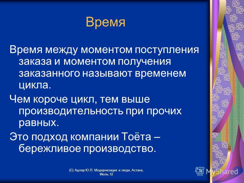 (С) Адлер Ю.П. Модернизация и люди, Астана, Июль.12 6 Время Время между моментом поступления заказа и моментом получения заказанного называют временем цикла. Чем короче цикл, тем выше производительность при прочих равных. Это подход компании Тоёта –