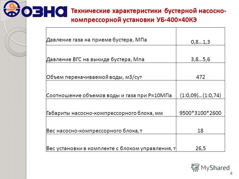 Технические характеристики бустерной насосно- компрессорной установки УБ-400×40КЭ 4 Давление газа на приеме бустера, МПа 0,8…1,3 Давление ВГС на выкиде бустера, Мпа3,8…5,6 Объем перекачиваемой воды, м3/сут472 Соотношение объемов воды и газа при Р=10М