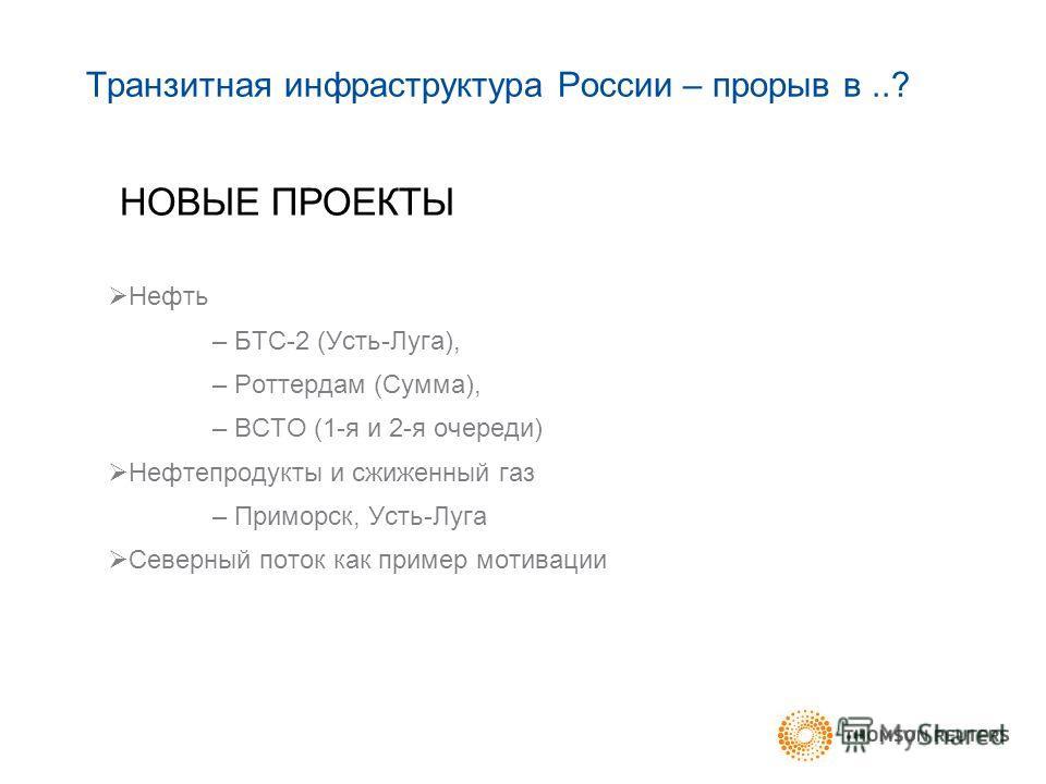 Транзитная инфраструктура России – прорыв в..? Нефть – БТС-2 (Усть-Луга), – Роттердам (Сумма), – ВСТО (1-я и 2-я очереди) Нефтепродукты и сжиженный газ – Приморск, Усть-Луга Северный поток как пример мотивации НОВЫЕ ПРОЕКТЫ