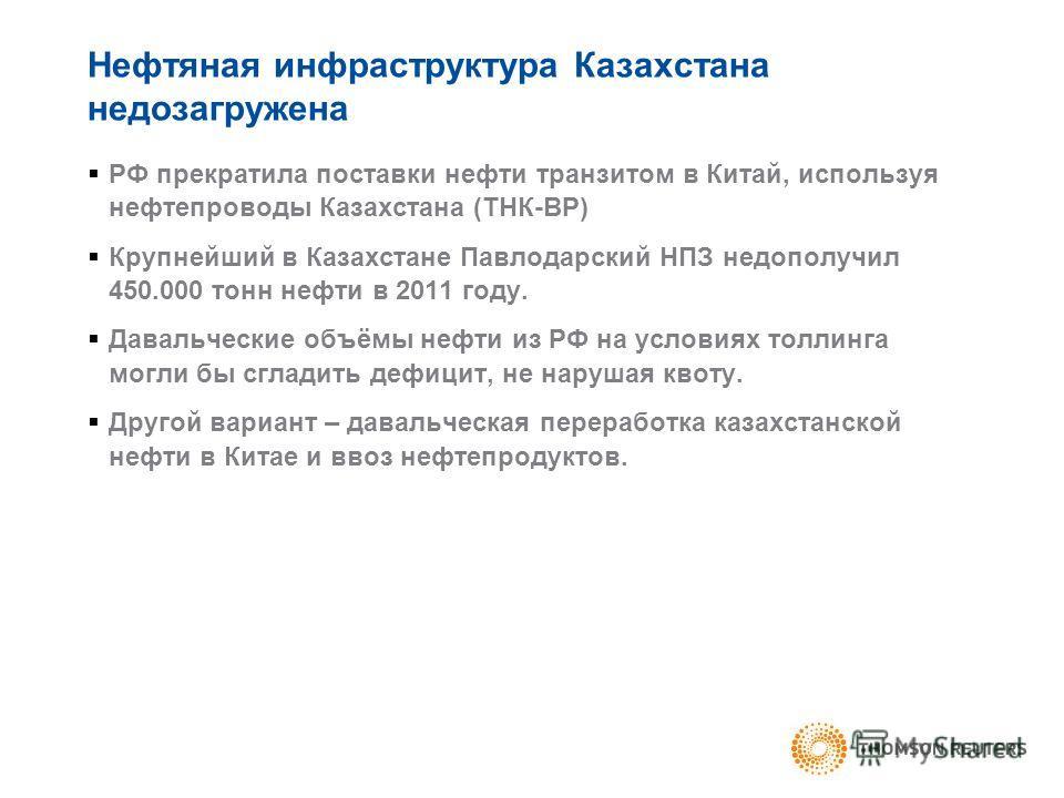 Нефтяная инфраструктура Казахстана недозагружена РФ прекратила поставки нефти транзитом в Китай, используя нефтепроводы Казахстана (ТНК-ВР) Крупнейший в Казахстане Павлодарский НПЗ недополучил 450.000 тонн нефти в 2011 году. Давальческие объёмы нефти