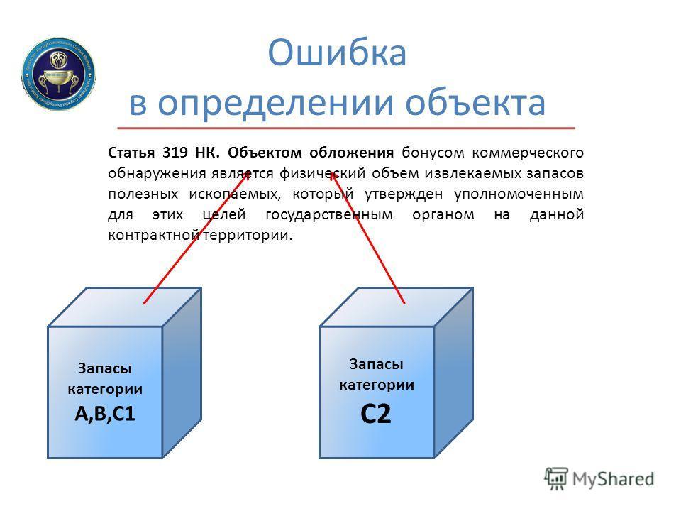 Ошибка в определении объекта Запасы категории А,В,С1 Запасы категории С2 Статья 319 НК. Объектом обложения бонусом коммерческого обнаружения является физический объем извлекаемых запасов полезных ископаемых, который утвержден уполномоченным для этих