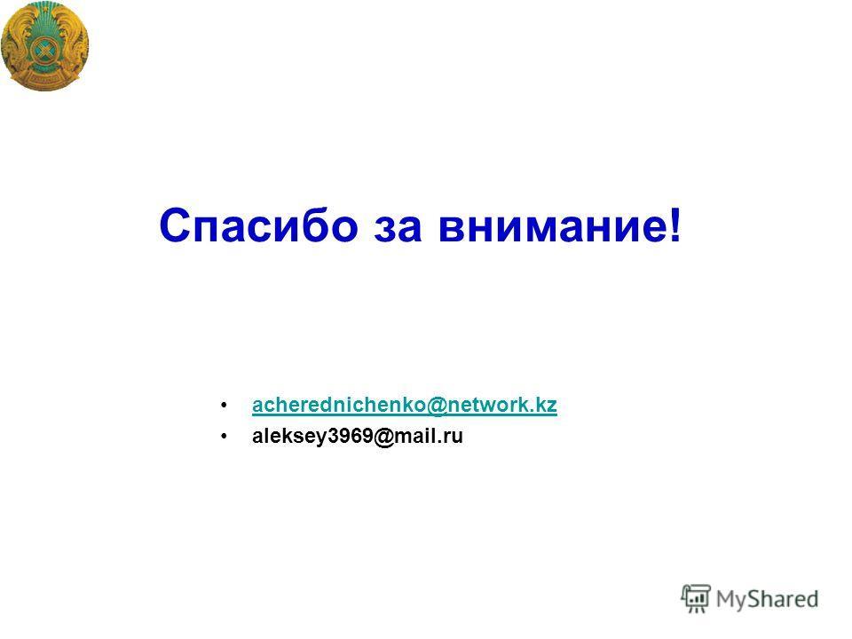 Спасибо за внимание! acherednichenko@network.kz aleksey3969@mail.ru