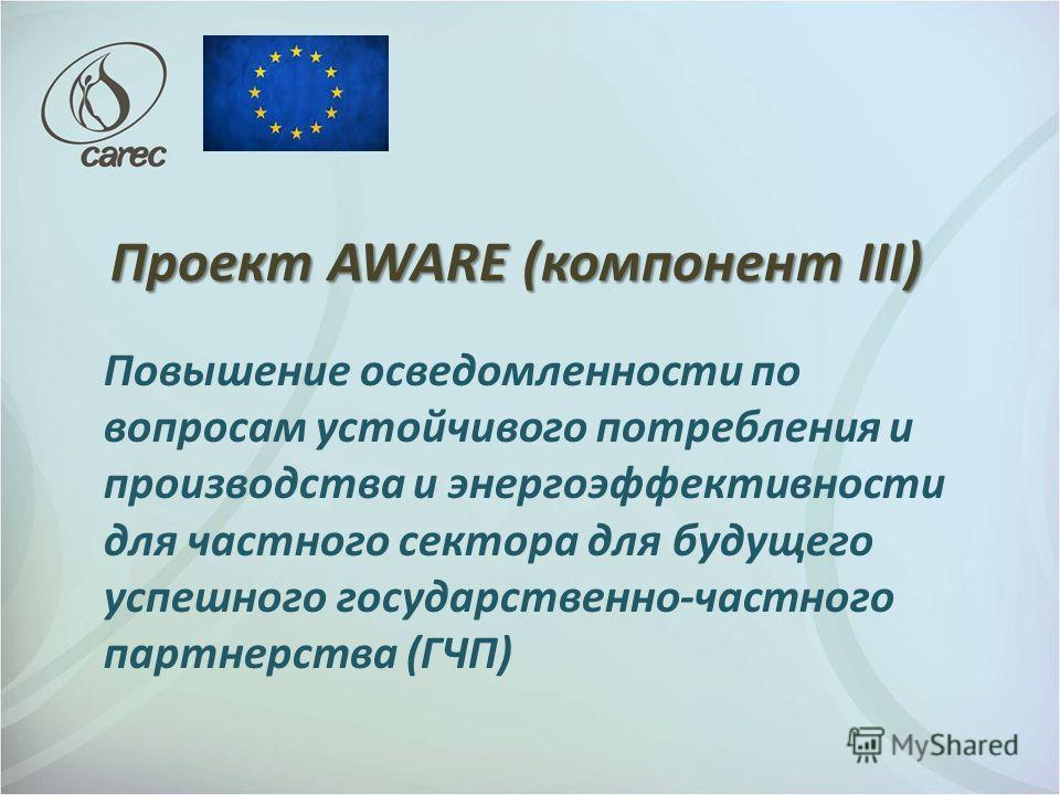 Проект AWARE (компонент III) Повышение осведомленности по вопросам устойчивого потребления и производства и энергоэффективности для частного сектора для будущего успешного государственно-частного партнерства (ГЧП)
