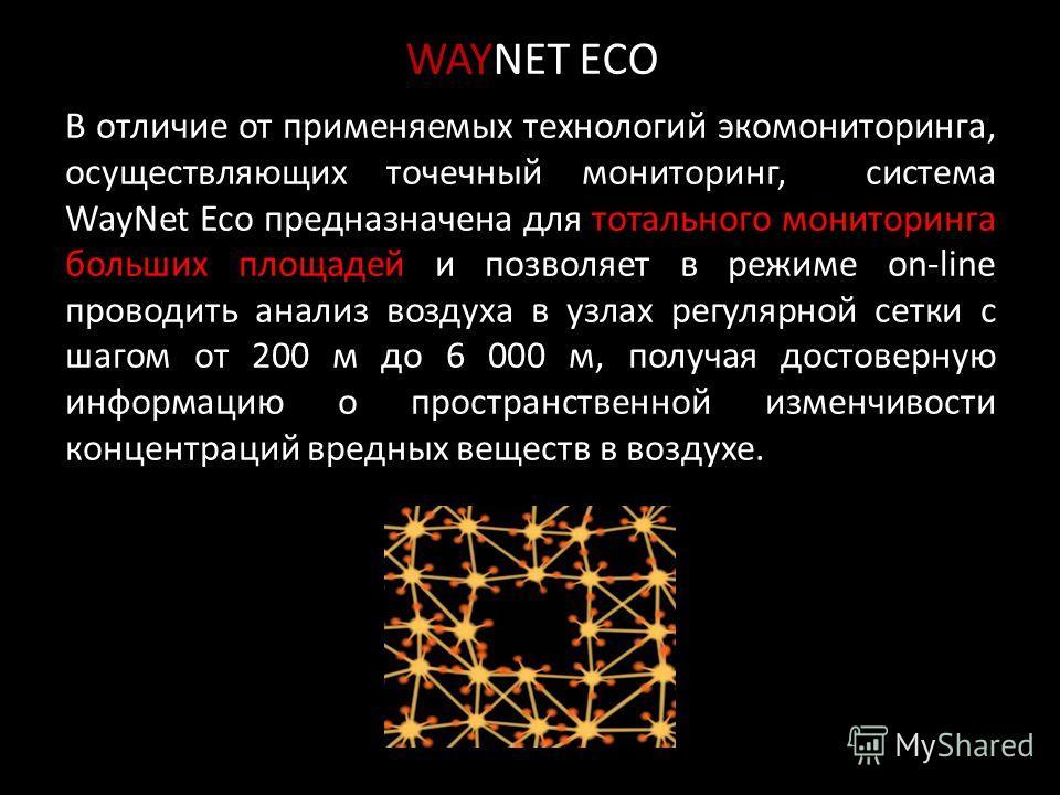 В отличие от применяемых технологий экомониторинга, осуществляющих точечный мониторинг, система WayNet Eco предназначена для тотального мониторинга больших площадей и позволяет в режиме on-line проводить анализ воздуха в узлах регулярной сетки с шаго