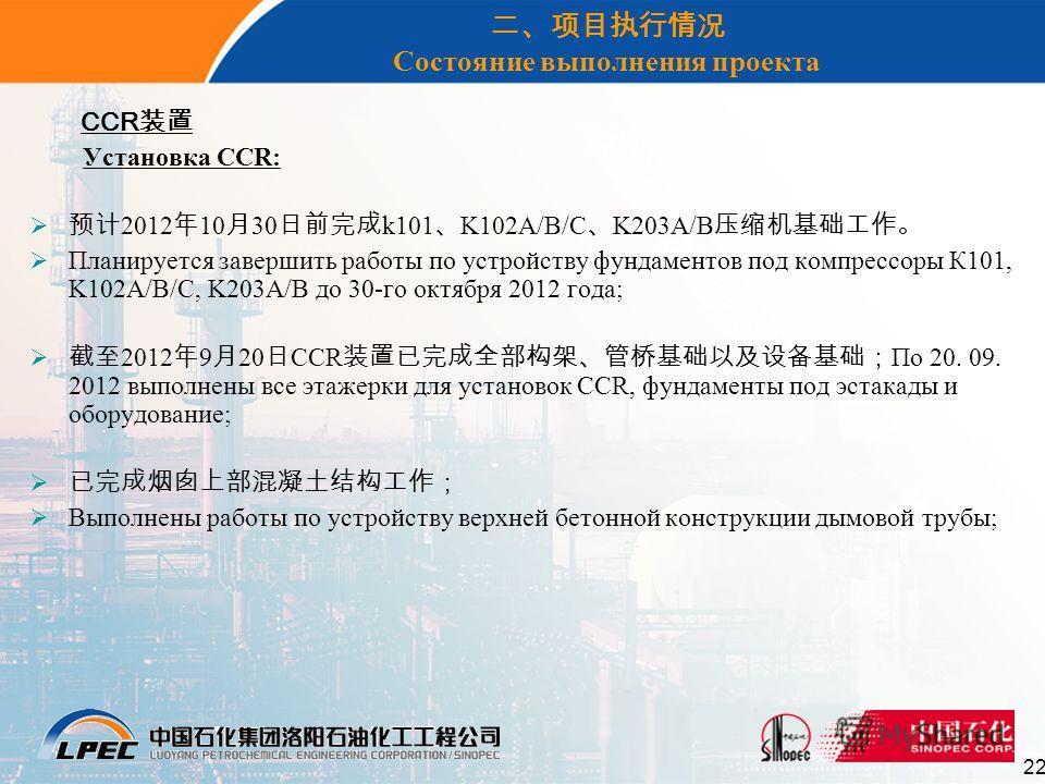 22 Состояние выполнения проекта CCR Установка CCR: 2012 10 30 k101 K102A/B/C K203A/B Планируется завершить работы по устройству фундаментов под компрессоры К101, K102A/B/C, K203A/B до 30-го октября 2012 года; 2012 9 20 CCR По 20. 09. 2012 выполнены в