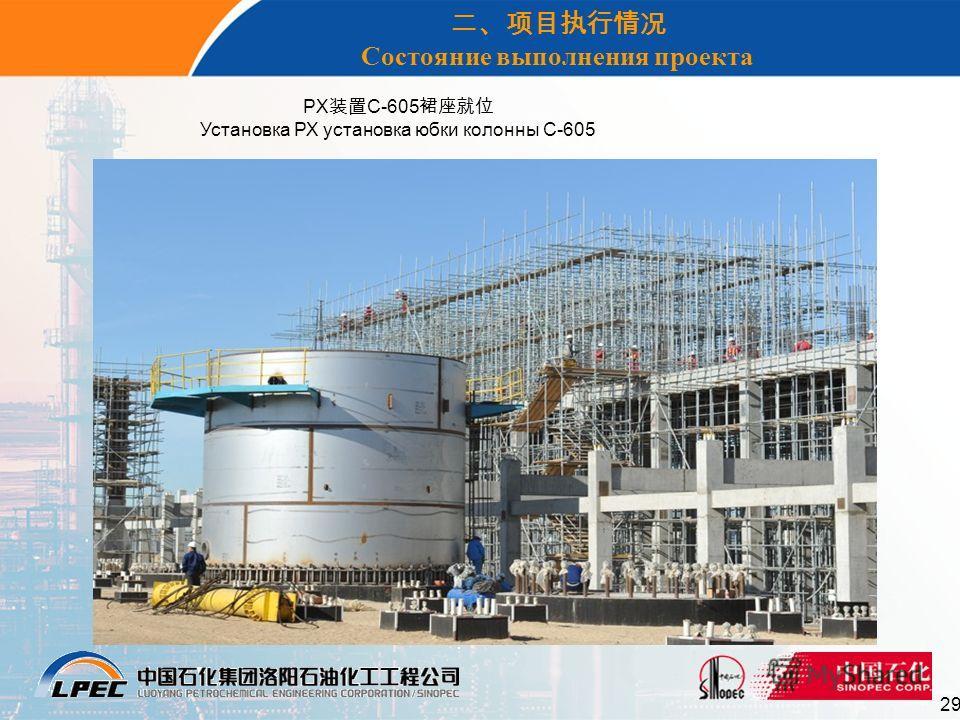 29 Состояние выполнения проекта PX C-605 Установка РХ установка юбки колонны С-605