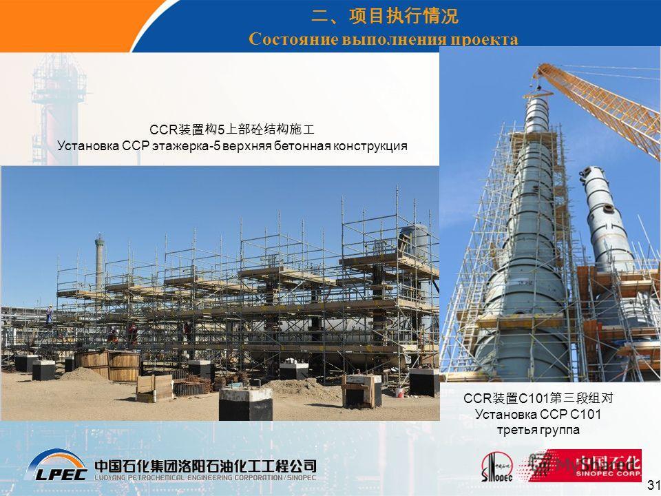 31 Состояние выполнения проекта CCR 5 Установка ССР этажерка-5 верхняя бетонная конструкция CCR C101 Установка ССР С101 третья группа