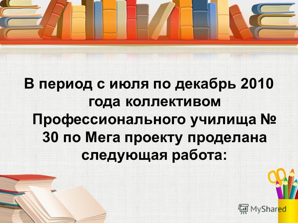 В период с июля по декабрь 2010 года коллективом Профессионального училища 30 по Мега проекту проделана следующая работа:
