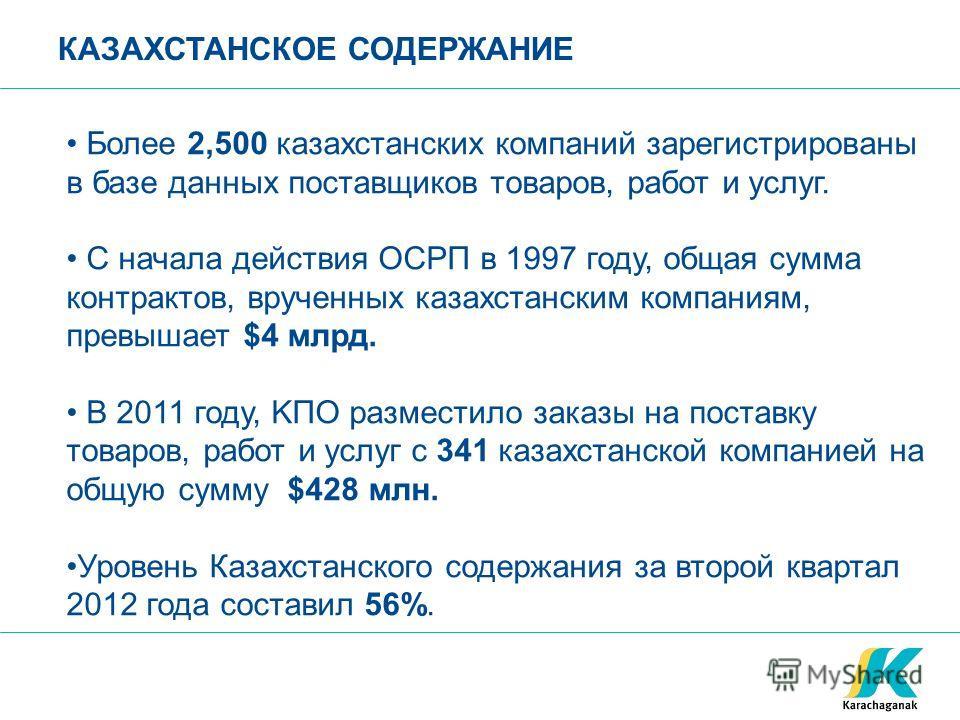 Более 2,500 казахстанских компаний зарегистрированы в базе данных поставщиков товаров, работ и услуг. С начала действия ОСРП в 1997 году, общая сумма контрактов, врученных казахстанским компаниям, превышает $4 млрд. В 2011 году, KПO разместило заказы