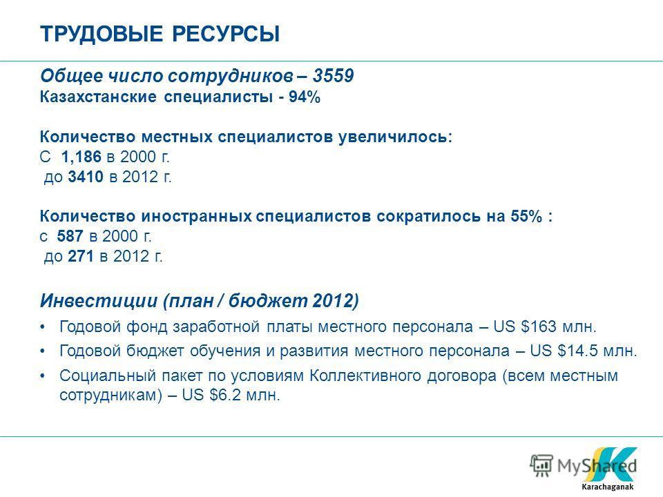 ТРУДОВЫЕ РЕСУРСЫ Общее число сотрудников – 3559 Казахстанские специалисты - 94% Количество местных специалистов увеличилось: С 1,186 в 2000 г. до 3410 в 2012 г. Количество иностранных специалистов сократилось на 55% : с 587 в 2000 г. до 271 в 2012 г.