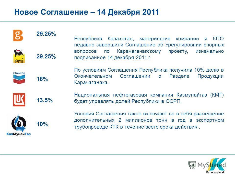 Новое Соглашение – 14 Декабря 2011 29.25% 18% 13.5% Республика Казахстан, материнские компании и КПО недавно завершили Соглашение об Урегулировнии спорных вопросов по Карачаганакскому проекту, изначально подписанное 14 декабря 2011 г. По условиям Сог