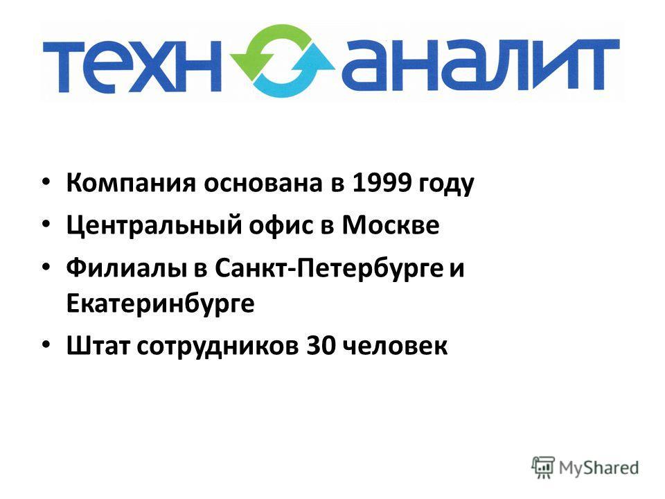 Компания основана в 1999 году Центральный офис в Москве Филиалы в Санкт-Петербурге и Екатеринбурге Штат сотрудников 30 человек