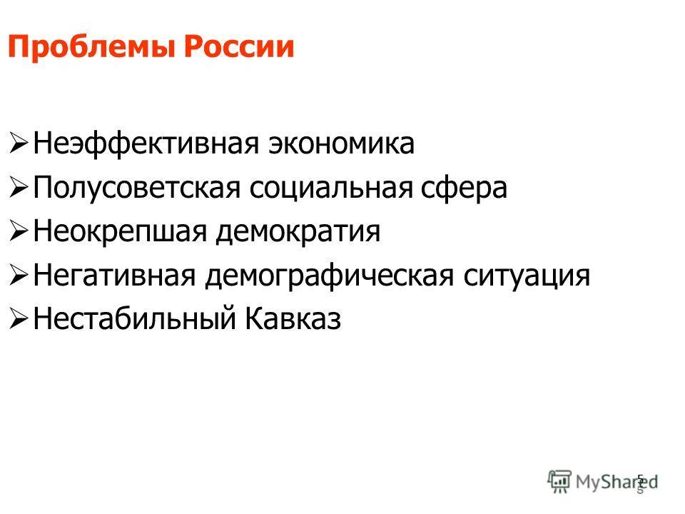 5 Проблемы России Неэффективная экономика Полусоветская социальная сфера Неокрепшая демократия Негативная демографическая ситуация Нестабильный Кавказ 55