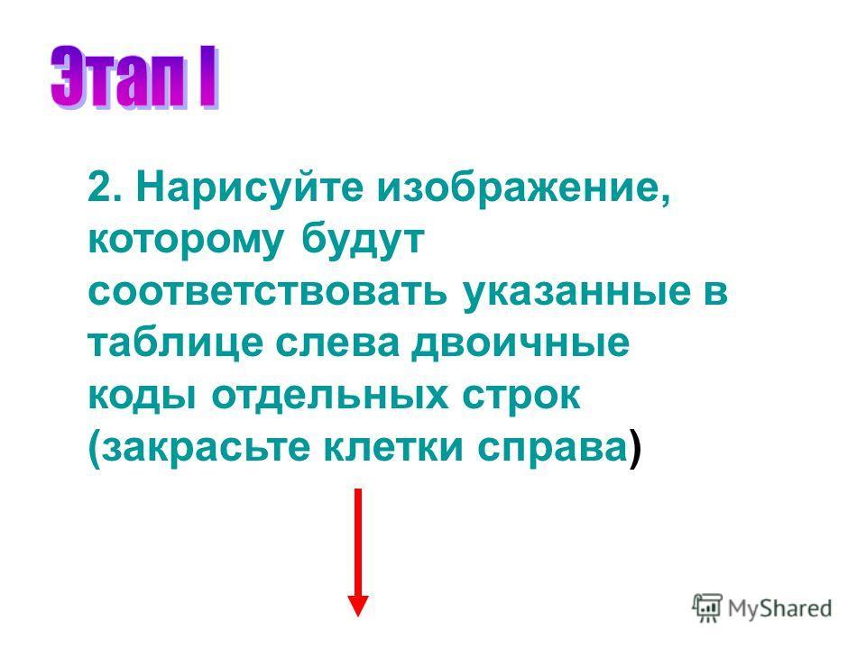 2. Нарисуйте изображение, которому будут соответствовать указанные в таблице слева двоичные коды отдельных строк (закрасьте клетки справа)