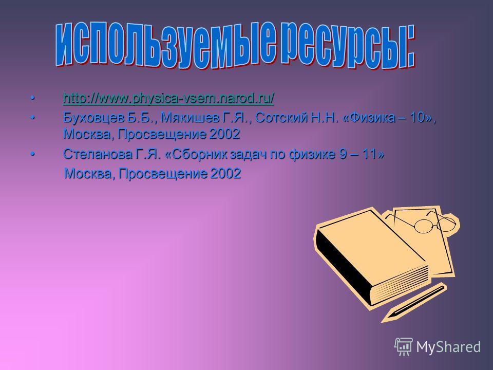 http://www.physica-vsem.narod.ru/http://www.physica-vsem.narod.ru/http://www.physica-vsem.narod.ru/ Буховцев Б.Б., Мякишев Г.Я., Сотский Н.Н. «Физика – 10», Москва, Просвещение 2002Буховцев Б.Б., Мякишев Г.Я., Сотский Н.Н. «Физика – 10», Москва, Прос