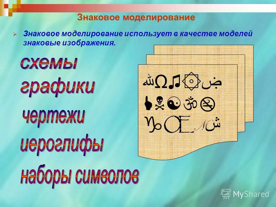 Знаковое моделирование Знаковое моделирование использует в качестве моделей знаковые изображения. Ωۻ۞ Œ N