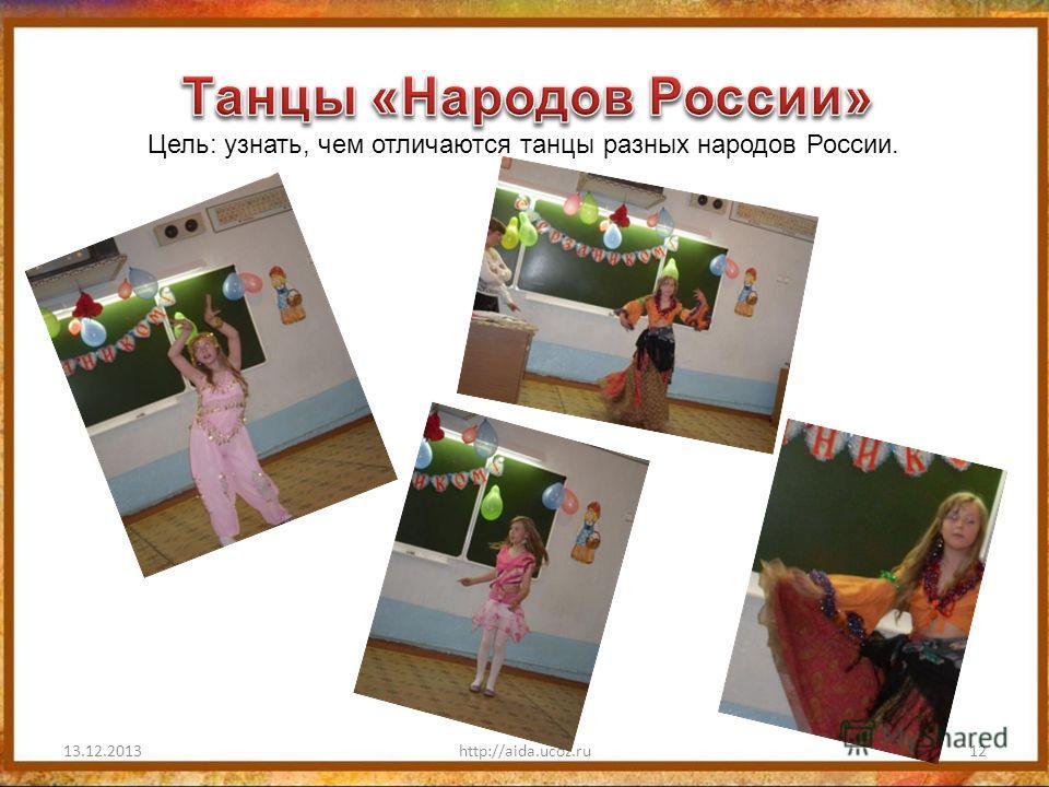 13.12.2013http://aida.ucoz.ru12 Цель: узнать, чем отличаются танцы разных народов России.