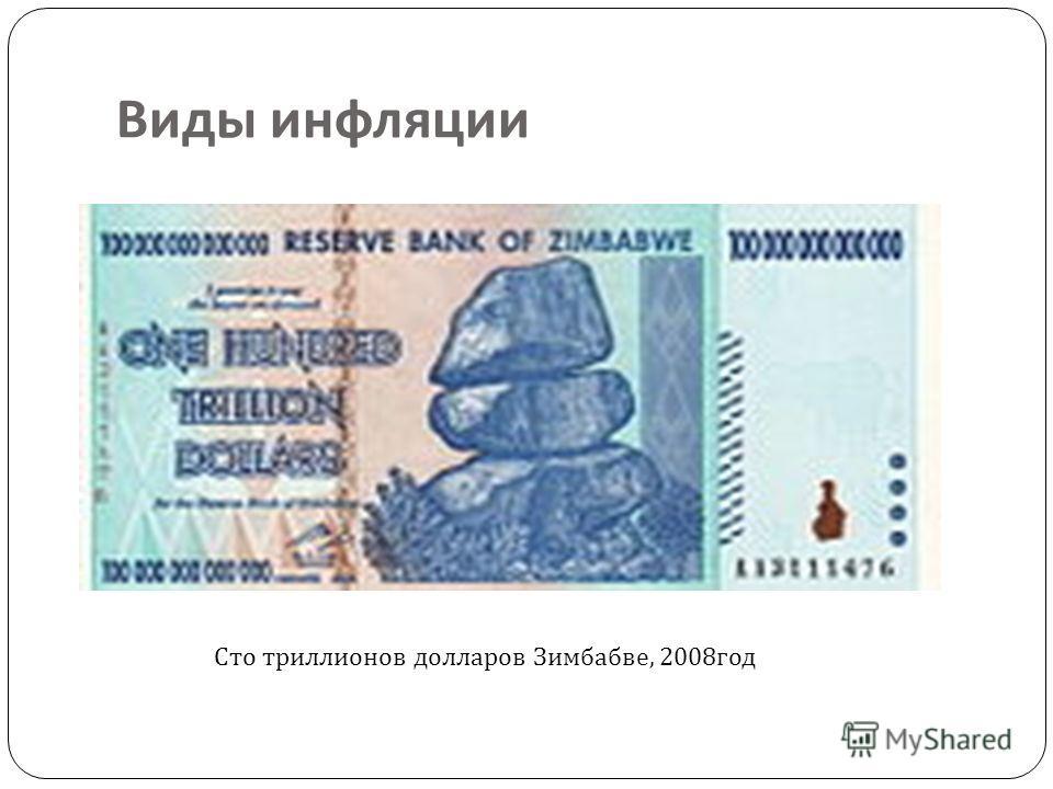 Сто триллионов долларов Зимбабве, 2008 год Виды инфляции