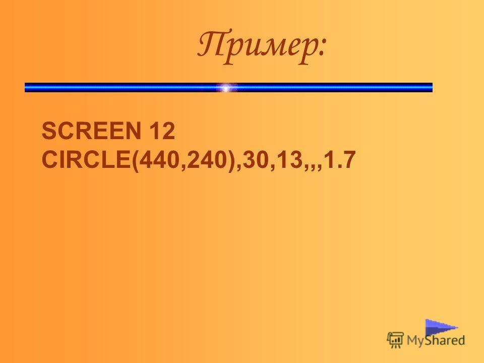 Пример: SCREEN 12 CIRCLE(440,240),30,13,,,1.7