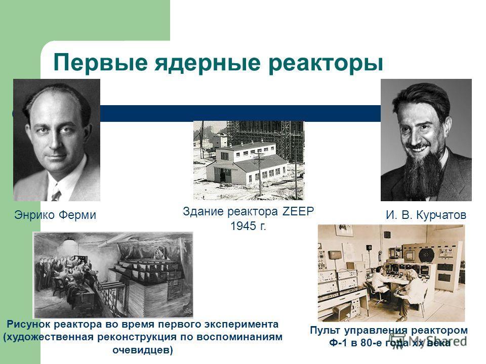 Первые ядерные реакторы Пульт управления реактором Ф-1 в 80-е года хх века Рисунок реактора во время первого эксперимента (художественная реконструкция по воспоминаниям очевидцев) Энрико ФермиИ. В. Курчатов Здание реактора ZEEP 1945 г.