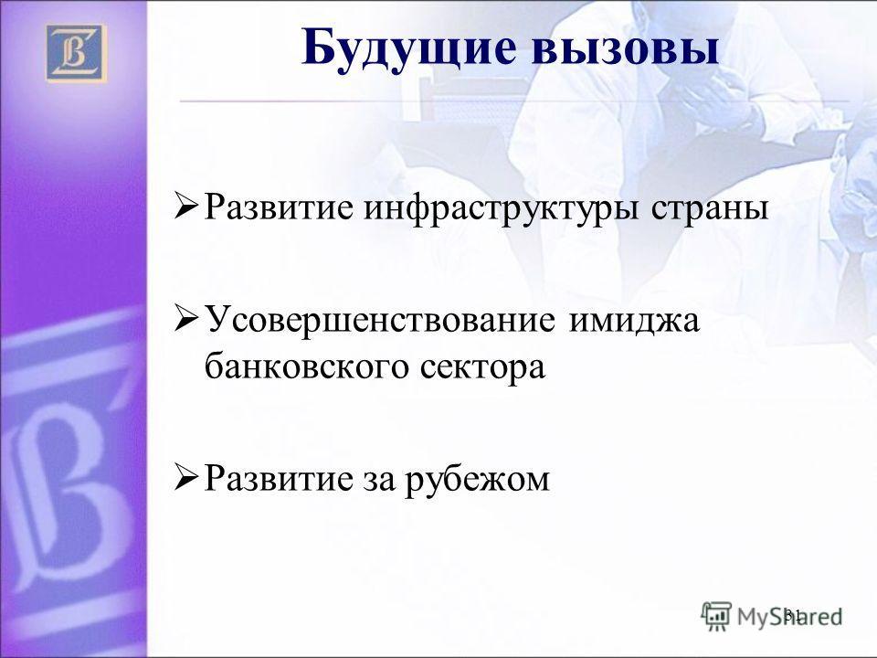 31 Будущие вызовы Развитие инфраструктуры страны Усовершенствование имиджа банковского сектора Развитие за рубежом