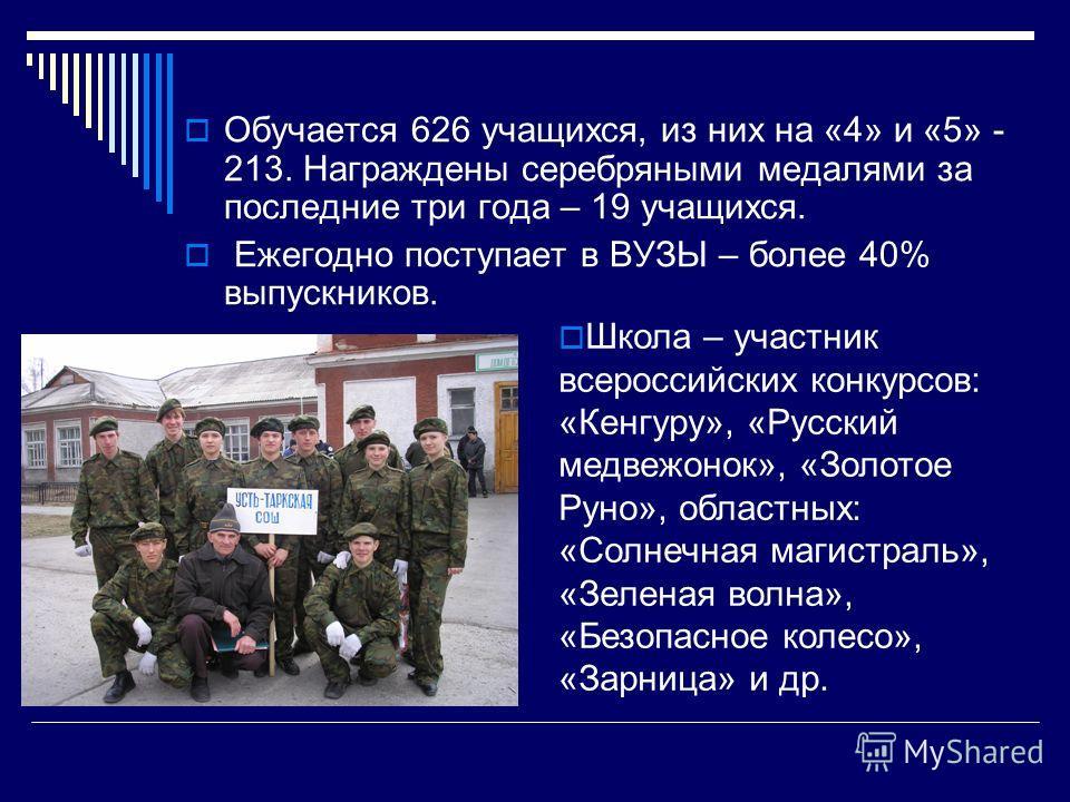 Обучается 626 учащихся, из них на «4» и «5» - 213. Награждены серебряными медалями за последние три года – 19 учащихся. Ежегодно поступает в ВУЗЫ – более 40% выпускников. Школа – участник всероссийских конкурсов: «Кенгуру», «Русский медвежонок», «Зол