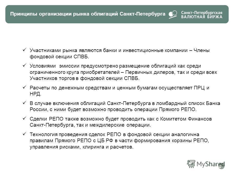 Принципы организации рынка облигаций Санкт-Петербурга Участниками рынка являются банки и инвестиционные компании – Члены фондовой секции СПВБ. Условиями эмиссии предусмотрено размещение облигаций как среди ограниченного круга приобретателей – Первичн